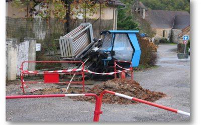 Forage dirigé pour canalisation eaux usées sous voie ferrée et route départementale sur la commune de Manaurie